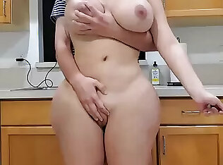 Scorching mother together with sonny in kitchen